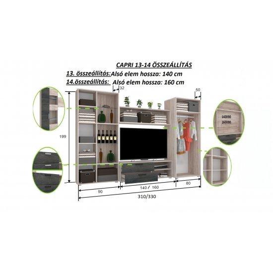 Capri 13 szekrénysor 310 cm